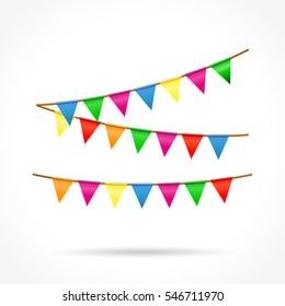 Illustration of colorful buntings on white background