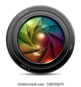 illustration of colorful camera shutter on white background
