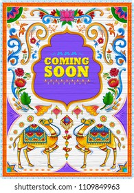 illustration of colorful Coming Soon banner in truck art kitsch style of India