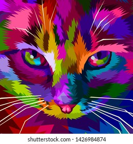 illustration colorful cool cat eyes