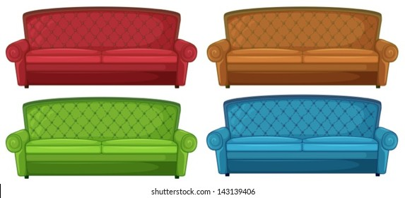 Illustration of the colorful couches on a white background