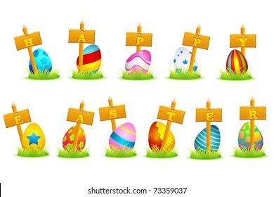 illustration of colorful decorated eggs on grass with happy easter written on boards