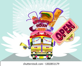 Illustration of colorful Desi food truck.Indian and Pakistani  design.Vector  for design invitation, card, wallpaper,poster.