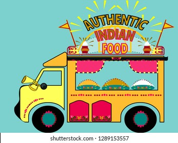 Illustration of colorful Desi food truck.Welcome banner kitsch style.Indian and Pakistani  design.