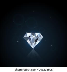 Illustration of a colorful diamond against a dark background.