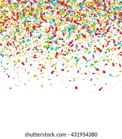 Illustration Colorful Explosion of Confetti. Grainy Abstract Colorful Texture Isolated on White Background - Vector