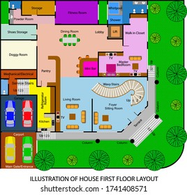 Illustration of colorful first floor layout of large house.
