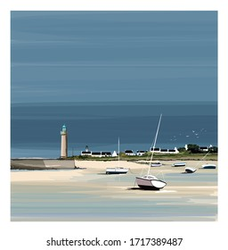 Illustration of a colorful fisherman's boats in Brittany France - vector illustration (Ideal for printing on fabric or paper, poster or wallpaper, house decoration) Landscape totally fictitious