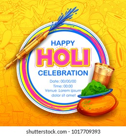 illustration of colorful gulal (powder color) and pichkari for Happy Holi Background