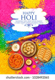 illustration of colorful gulal (powder color) and gujiya sweet with thandai for Happy Holi Background
