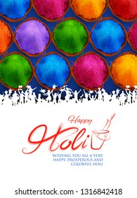 illustration of colorful gulal (powder color) in earthen bowl for Happy Holi Background