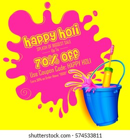 illustration of colorful Happy Holi promotional background for Festival of Colors celebration greetings