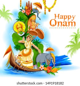 illustration of colorful holiday banner background for Happy Onam religious festival of South India Kerala
