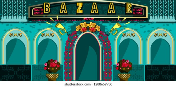 Illustration of colorful Indian bazar.Welcome banner kitsch style.Indian and Pakistani  design.