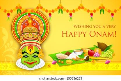illustration of colorful Kathakali dancer face for Onam celebration