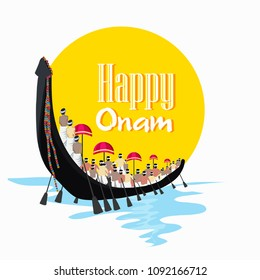 Illustration of colorful Kathakali dancer face,King Mahabali on Happy Onam festival of South India Kerala