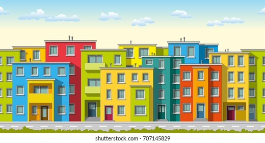 Illustration of colorful modern family house, seamless