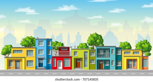 Illustration of colorful modern family house with trees