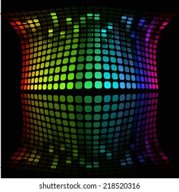 illustration of colorful musical bar showing volume on black background