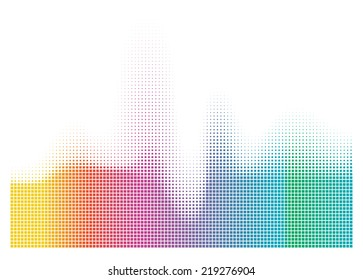 illustration of colorful musical bar showing volume on white background. You can use in club, radio, pub, party, DJ, concerts, recitals or the audio technology advertising background.