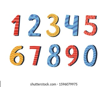 Illustration of colorful numbers. Baby numbers set. Vector illustration.