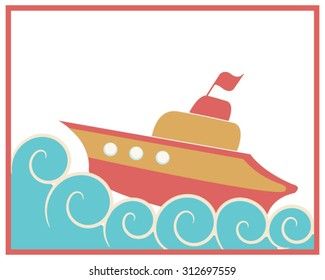 Illustration of colorful orange and red toy ship in the ocean. Curly waves around. For kids, wallpaper, background.
