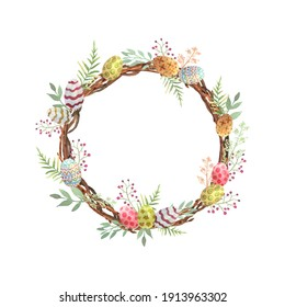 Illustration with colorful painted eggs on an Easter wreath of twigs in watercolor. Flower circle frame. Happy easter background. Spring symbol. Vector illustrarion