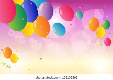 Illustration of the colorful party balloons
