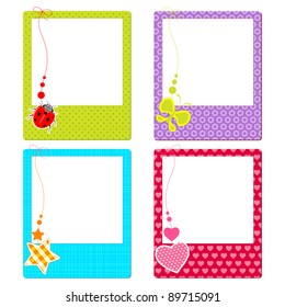 illustration of colorful photo frame with cute element