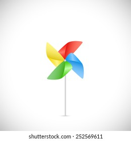 Illustration of a colorful pinwheel isolated on a white background.