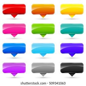 Illustration of colorful set labels on white background