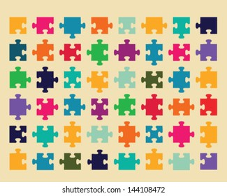 Illustration of colorful shiny puzzle 2, vector