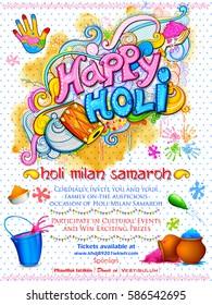 illustration of colorful splash doodle for Happy Holi Background