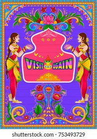 illustration of colorful Visit Again banner in truck art kitsch style of India
