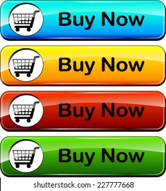 illustration of colorful web buttons for buy now
