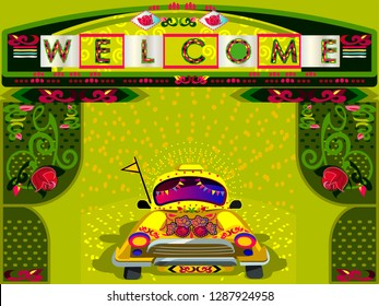 Illustration of colorful welcome banner  or poster in truck art kitsch style.Indian and Pakistani  design.