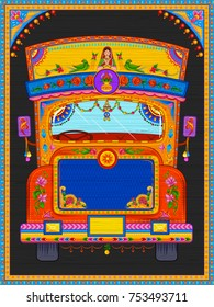 illustration of colorful welcome banner in truck art kitsch style of India