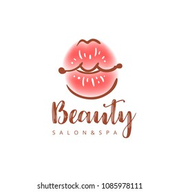 Illustration of colorful womens lips. Abstract vector logo sign design. Trendy concept for beauty salon, cosmetics product, lipstick label, cosmetology procedures, makeup stylist.