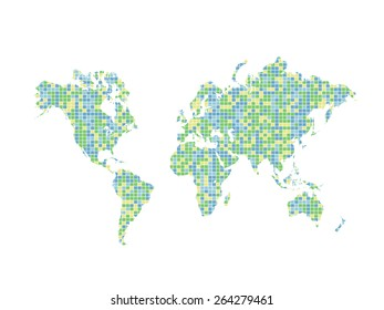 Illustration of a colorful world map design isolated on a white background.