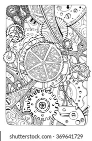 illustration for coloring book; antistress coloring; gears and mechanical elements