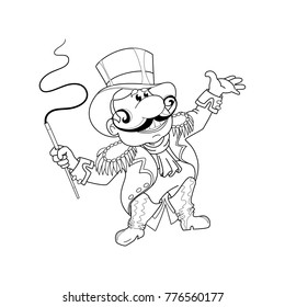 Illustration for coloring books. Circus. An animal trainer with a whip and a hat cylinder. Funny vector children's characters in cartoon style.