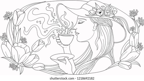 Illustration, Coloring page, Coffee aroma, Beautiful woman smelling a coffee holding coffee cup in her hand, with a wide hat with flowers on her head