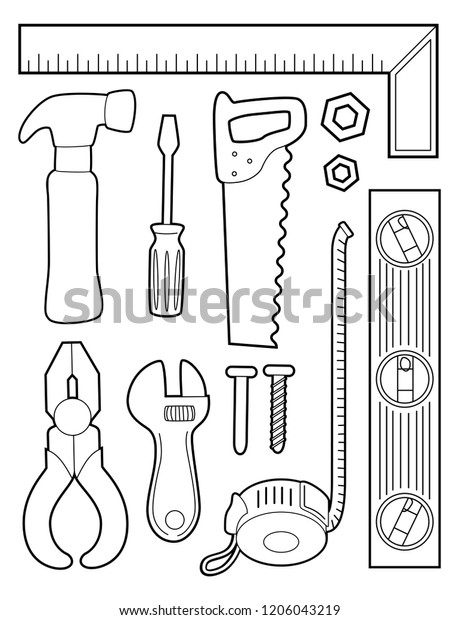 Illustration Coloring Page Different Construction Tools