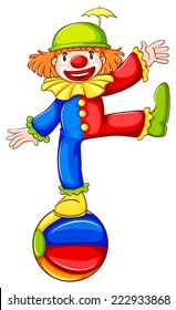 Illustration of coloured sketch of a clown a on a white background