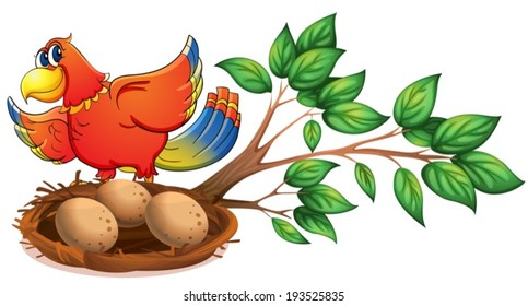 Illustration of a colourful bird at the branch of a tree with a nest on a white background