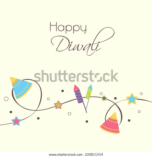 Illustration of colourful crackers and stars in a rope on white background.
