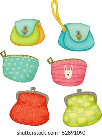 Illustration of colourful ladies purses on a white background