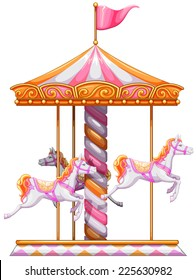 Illustration of a colourful merry-go-round on a white background