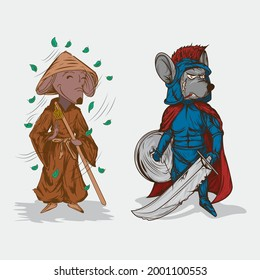 illustration combination of brown rat dressed in buddha and gray rat in gladiator outfit in red robe