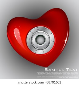 illustration of combination lock on heart on abstract background